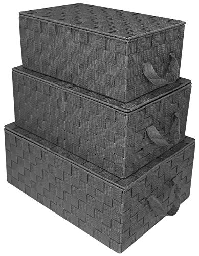 Sorbus Storage Box Woven Basket Bin Container Tote Cube Organizer Set Stackable Storage Basket Woven Strap Shelf Organizer Built-in Carry Handles (Woven Lid Baskets - Gray) (Wicker With Lid Baskets Storage)