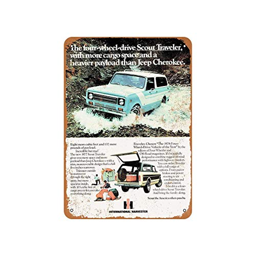 Fhdang Decor Vintage Pattern 1977 International Scout Traveler Vintage Look Metal Sign Aluminum Sign,6x9 Inches