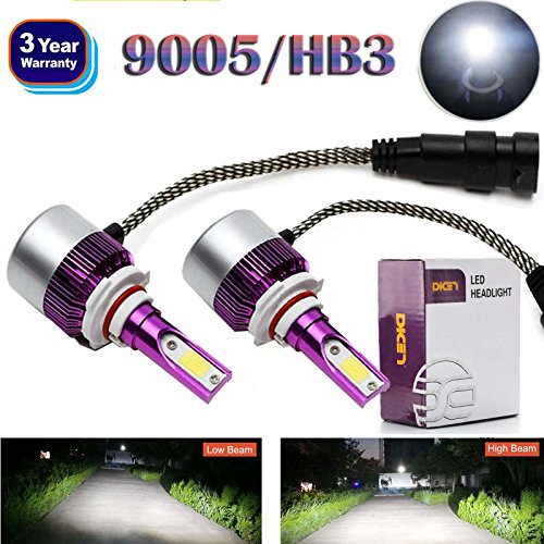 9005 HB3 H10 LED Headlight Bulbs 2018 Newest Design All-in-One Conversion Kit High or Low Beam Fog Driving Headlamp 6000K White 12000LM Bright Car Light to Replace HID Xenon - 3 Year Warranty