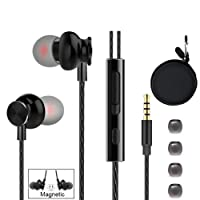 Earbud Headphones, ApexOne Magnetic in-Ear Noise-isolating Earphones, Crystal Clear Deep Bass Sound Headset with Mic & Volume Control and Black Carrying case