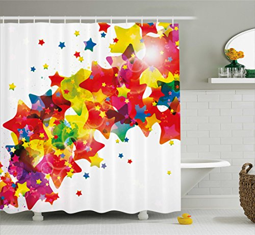 (Ambesonne Abstract Shower Curtain, Stars Colorful Big Little Various Toned Figures Kids Nursery Playroom Art Design, Fabric Bathroom Decor Set with Hooks, 84 inches Extra Long, Multicolor)