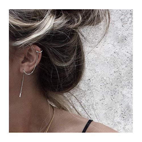 (MSECVOI 925 Sterling Silver Cuff Chain Earrings Wrap Tassel Earrings for Women)