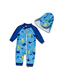 BONVERANO Baby Boys Sunsuit UPF 50+ Sun Protection One Piece Swimsuit with Full-Length Zipper