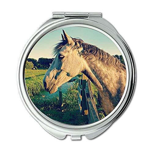 Mirror,Compact Mirror,animal equine farm,pocket mirror,portable -