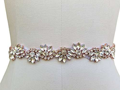 Bridal Wedding Gown Belt Ivory with Beaded Rhinestone Piece in 3 Color Choice (Rose Gold in Ivory) - Rose Beaded Dress