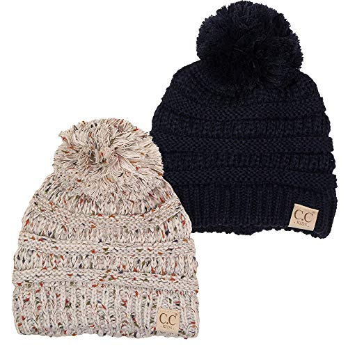 H-6847-2-3167 Kids Pom Beanie Bundle - 1 Navy, 1 Oatmeal Confetti (2 Pack)