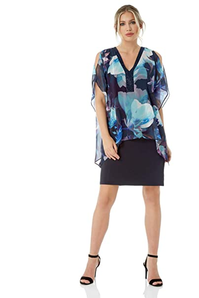 729942c200 Roman Originals Women Embellished V-Neck Floral Print Dress - Ladies  Chiffon Knee Length Short Sleeve Holiday Going Out Party Cocktails Evening  Summer ...