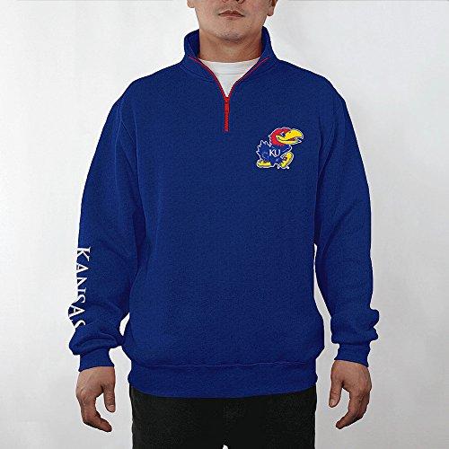Kansas Jayhawks Quarter Zip Sweatshirt Captain Blue - L