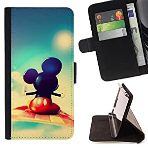 Mickey Fly - Painting Art Smile Face Style Design PU Leather Flip Stand Case Cover FOR Samsung Galaxy S4 IV I9500 @ The Smurfs