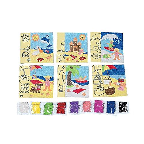 Fun Express - A Day at The Beach! Sand Art - Craft Supplies - Sand Art - Sheets - 24 Pieces ()