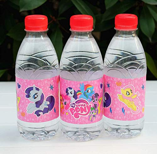 Astra Gourmet Little Pony Bottle Wraps - 24 Cute Cartoon Pony Water Bottle Labels for Birthday Baby Shower Party -