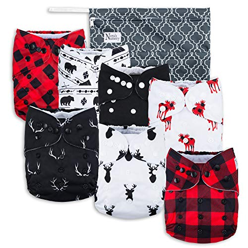 Buffalo Plaid Baby Cloth Pocket Diapers 7 Pack, 7 Bamboo Inserts, 1 Wet Bag by Nora's Nursery ()