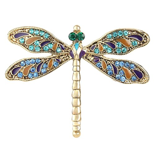 EVER FAITH Austrian Crystal Enamel Vintage Inspired Dragonfly Insect Animal Brooch Pin Blue Gold-Tone