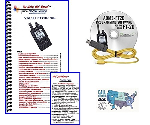 Transceiver Manual - Yaesu FT-2DR C4FM Transceiver Accessory Bundle -- Includes Nifty! Mini-Manual, RT Systems Programming Software and Cable and Ham Guides TM Quick Reference Card!!