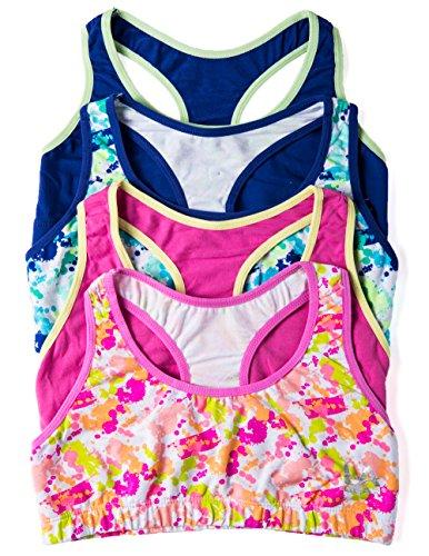 2 or 4 Pack Girls Cotton/Spandex Sports Bras (Medium, 4 PK:Blue/Pink Splatter)