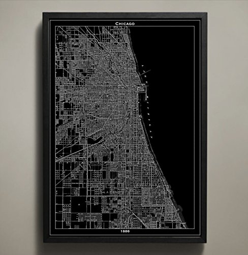 Chicago Map Print, Home or office - Street Shops State Chicago