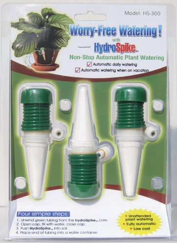 HydroSpike HS-300 (3-Pack) Worry-Free Automatic Plant Watering Devices Kit. Self Auto Waterer Spikes or Stakes Irrigation Drip System for Indoor Plants & Vacation. No Bottle, Jug, Pot, Can, or Orbs.