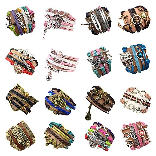 YallFF 16pcs Handmade Braided Multi Layers Vintage Woven Rope Wrap Bangle Bracelets - Infinity Love Best Friend from YallFF