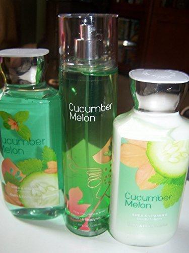 3 Piece Bath & Body Works Cucumber Melon Fragrance Gift Set- Fragrance Mist, Body Lotion and Shower Gel (Cucumber - Gel Cucumber Shower Gel Melon