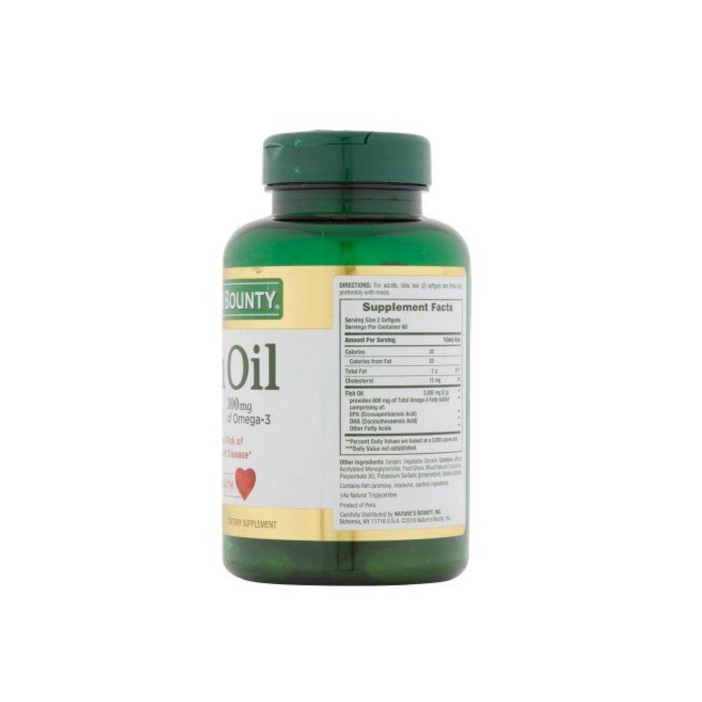 Nature's Bounty 300 mg Omega-3 Fish Oil 1000 mg Softgels 120 Coated Soft Gels ( Pack of 11)