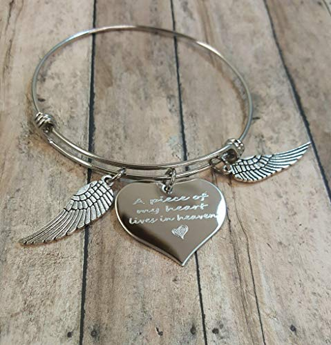 A Piece Of My Heart Lives In Heaven Charm Bracelet With Wings Grief Loss of Mother, Father, Son, Daughter, Friend, Grandmother, Grandfather