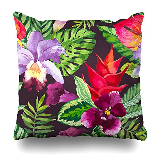 Lilies Calla Bordered (Ahawoso Throw Pillow Cover Color Red Pattern Watercolor Flowers Green Tile Tropical Calla Lily Vintage Abstract Design Art Decorative Pillowcase Square Size 20