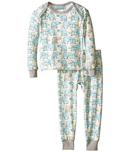 BedHead Kids Baby Boy's L/S Baby Tee & Pant (Infant) Blue Elephants Pajama Set 18-24 Months