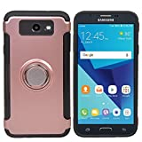 COOLKE Dual Layer Shockproof TPU Silicone + PC Hard Back shell 360 Rotating Ring Grip Holder Kickstand with Back Magnetic Circle Protective Case Cover for Samsung Galaxy J3 (2017) - Rose Gold