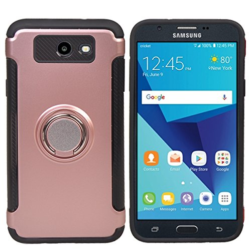 COOLKE Dual Layer Shockproof TPU Silicone + PC Hard Back shell 360 Rotating Ring Grip Holder Kickstand with Back Magnetic Circle Protective Case Cover for Samsung Galaxy J3 (2017) - Rose Gold by Coolke