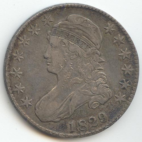 1829 P Capped Bust 1829/7 Overdate Half Dollar Extra Fine Details
