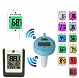 Ambient Weather WS-01T-F007PF-14C Wireless 8-Channel Floating Pool & Spa Thermometer with Color Changing Night Light