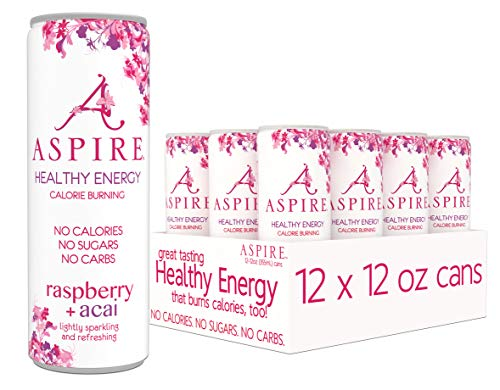 ASPIRE Healthy Energy, Calorie Burning, Zero Calorie, Zero Sugar Drink Raspberry + Acai 12 count case
