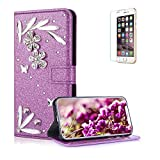 Funyye 3D Bling Flower Diamond Wallet Leather Case for iPhone XR,Purple Premium Glitter Crystal Shiny Rhinestone PU Leather Protective Cover Case,Multifunctional Magnetic Flip with Stand Credit Card Holder Slots Case for iPhone XR 6.1 inch + 1 x Free Screen Protector