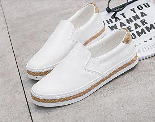 7 Shoes Platform Flats Fashion Comfortale Ladies Loafers On Casual Balck White Slip White Black Women's New Flat 70w6n