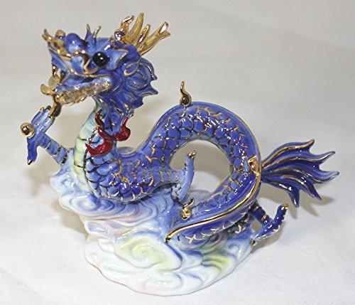 Feng Shui Dragon- Hand Crafted and Decorated Chinese Porcelain,figurine 2116011 (Blue)