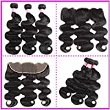ZILING Brazilian Virgin Hair Body Wave 3 Bundles with Frontal Closure 13×4 Ear to Ear Lace Frontal Closure 100% Unprocessed Human Hair Lace Frontal with Baby Hair (14 16 18 + 12)