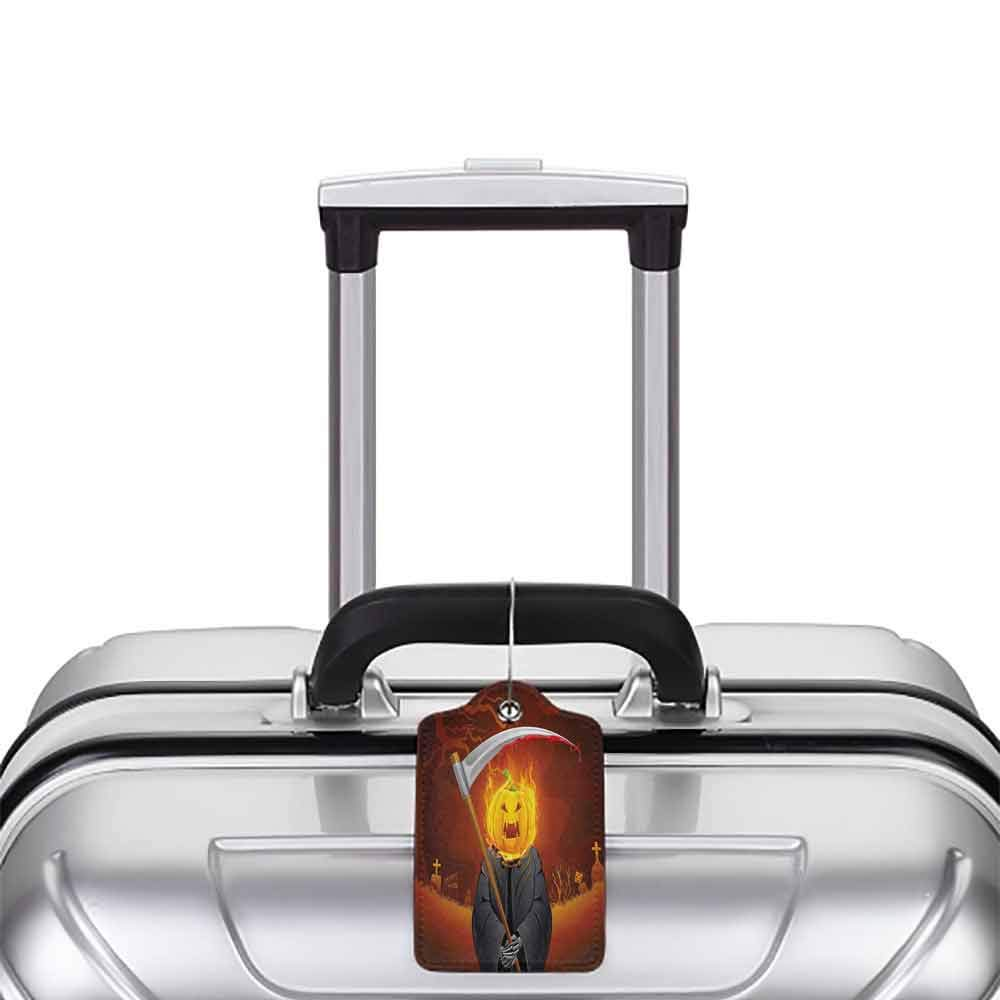 Multicolor luggage tag Halloween Decorations Pumpkin Grim Head Burning Flames Character Scary Creature Nightmare Hanging on the suitcase Orange Grey W2.7 x L4.6