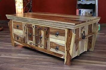 Couchtisch Wohnzimmertisch 110x60x45 Sheesham Massiv Holz Kolonialstil Antik
