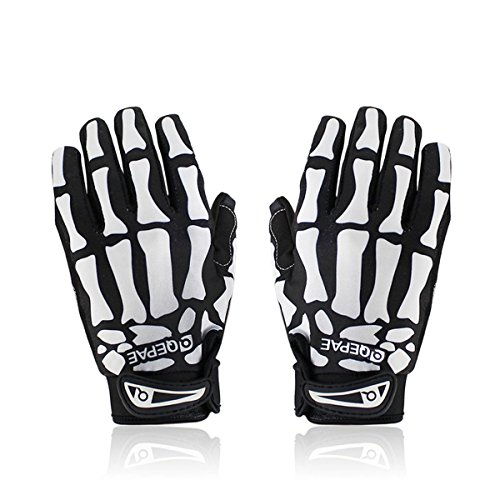 Kneos Tech Qepae Cycling Bike Bicycle Anti-Slip Breathable Hand Skeleton Pattern Full-Finger Gloves 4 Sizes 2 Colors for Male or Female Riding, Camping, Outdoor Sport (Whit, X–Large) ()