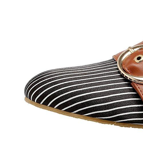 Amoonyfashion Solid Dames Pu Lage Hakken Gesloten-teen Pull-on Pumps-schoenen Zwart