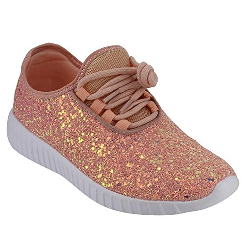 Forever Link Women's Remy-18 Glitter Sneakers | Fashion Sneakers | Sparkly Shoes for Women | Dusty Rose 8
