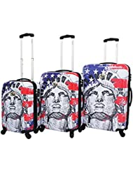 Chariot Liberty 3-Piece Lightweight Hardside Tsa Lock Spinner Luggage Set, US Flag