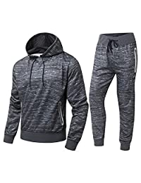 FZDX Men's Sport Casual Zipper Hoodies Pants Tractsuit (2 Pieces)