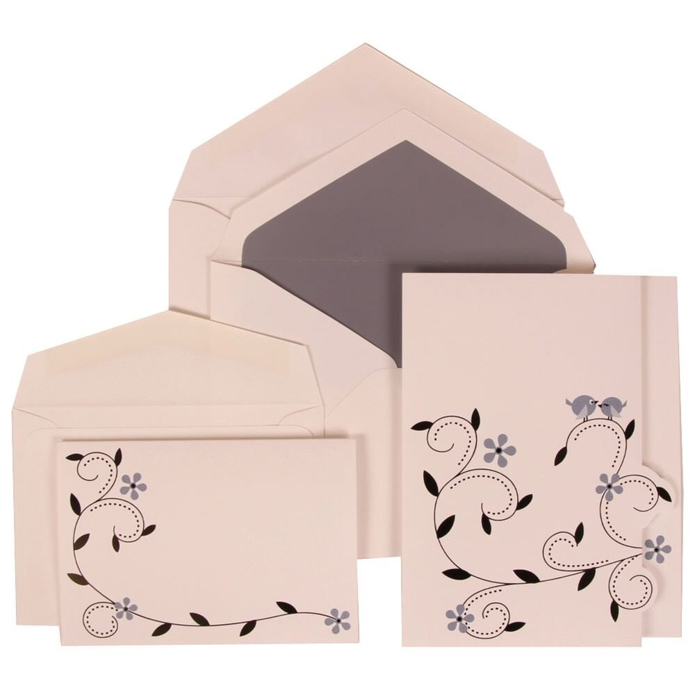 JAM Paper Wedding Invitation Combo Sets - 1 Small & 1 Large - Grey Accent Card with Grey Lined Envelope and Colorful Birds - 150/pack