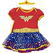 Warner Bros. Wonder Woman Newborn Infant Baby Girls' Costume Bodysuit Dress With Gold Tiara Headband and Cape, Red (0-3 Months)