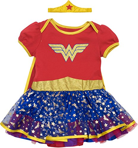 Warner Bros. Wonder Woman Newborn Infant Baby Girls' Costume Bodysuit Dress With Gold Tiara Headband and Cape, Red (6-9 (Baby Superhero Halloween Costumes)