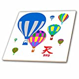 3dRose Alexis Design - Hot Air Balloon - Colorful toy balloons in the air, hieroglyph Sky, white backdrop - 12 Inch Ceramic Tile (ct_272461_4)