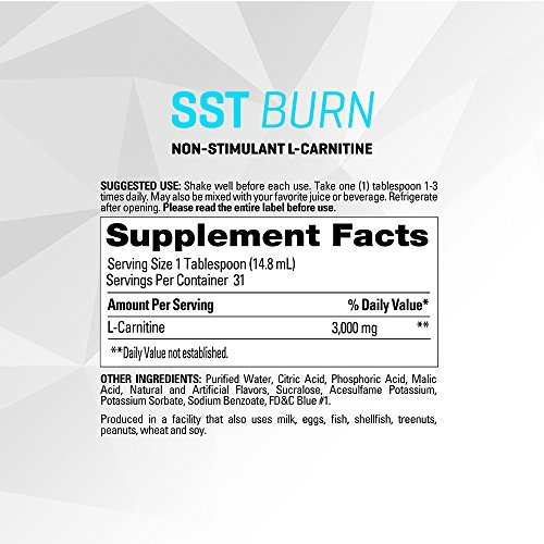 PERFORMIX SST Burn - Pure Liquid L-Carnitine Supplement, Non-Processed, Burns Fat Deposits for Energy and Boosts Metabolism, 30 Servings, Ice Berry