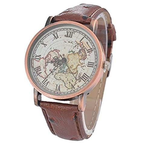 Souarts Womens Artificial Leather World Map Pattern Round Quartz Wrist Watch Coffee (Leather Round Watch)