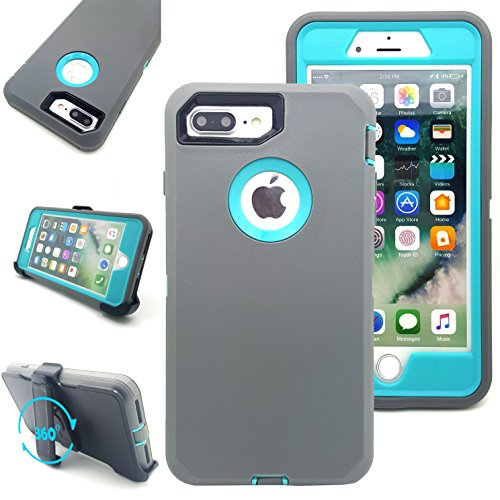 iPhone 7 Plus Case,Vodico Heavy Duty Rugged Multi-Layer Hybrid Protective Shockproof Defender Armor Case Cover with Belt Clip and Built-in Screen Protector for iPhone 7 Plus (Gray Teal)